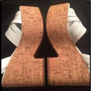Sigerson Morrison Woven Leather Cork Wedge Sandal
